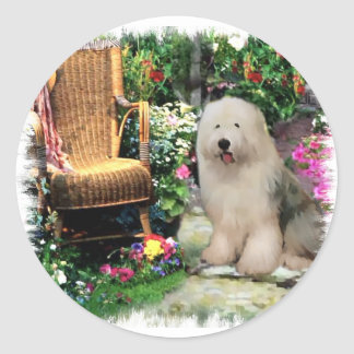 Old English Sheepdog Art Gifts Round Sticker