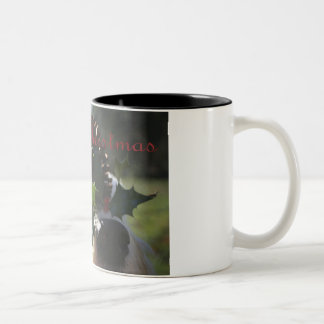 Old English Sheepdog Balancing Holly Two-Tone Coffee Mug