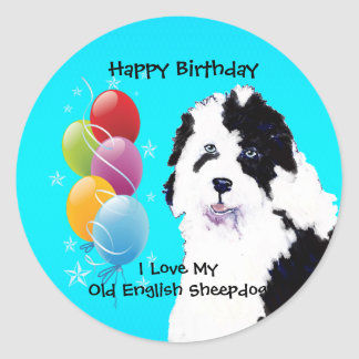 Old English Sheepdog - Birthday Balloon Glossy Classic Round Sticker