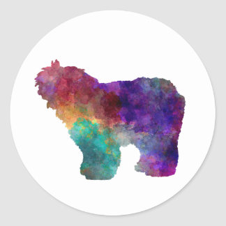 Old English Sheepdog Bobtail in watercolor Classic Round Sticker