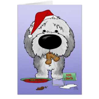 Old English Sheepdog Christmas Card