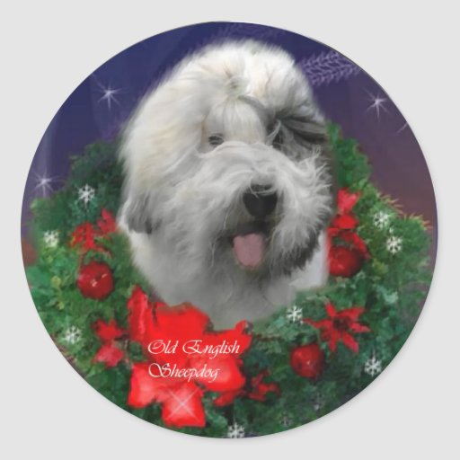 Old English Sheepdog Christmas Gifts Stickers