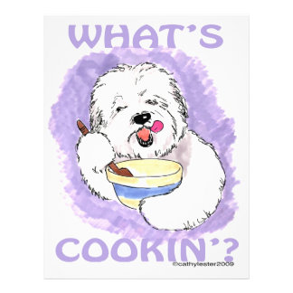Old English Sheepdog cooking Customized Letterhead