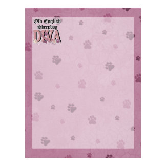 Old English Sheepdog DIVA Personalized Letterhead