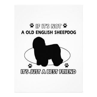 Old English Sheepdog dog breed designs Personalized Letterhead