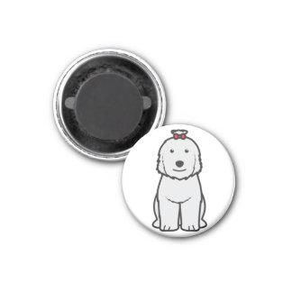 Old English Sheepdog Dog Cartoon 1 Inch Round Magnet