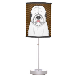 Old English Sheepdog Dog Cartoon Paws Table Lamp