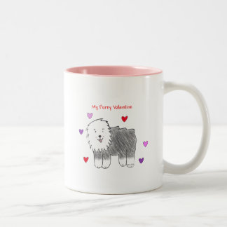 Old English Sheepdog Furry Valentine Two-Tone Coffee Mug