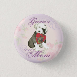 Old English Sheepdog Heart Mom 1 Inch Round Button
