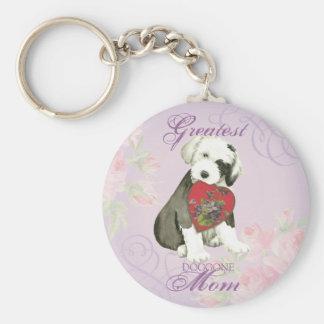 Old English Sheepdog Heart Mom Keychain