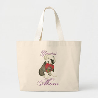Old English Sheepdog Heart Mom Large Tote Bag