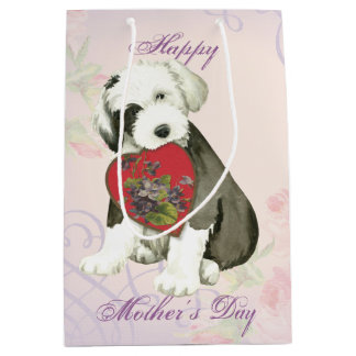 Old English Sheepdog Heart Mom Medium Gift Bag