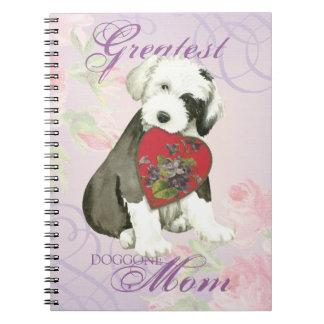 Old English Sheepdog Heart Mom Notebook