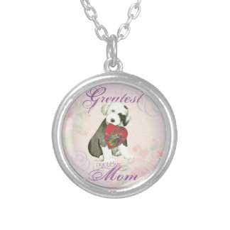 Old English Sheepdog Heart Mom Silver Plated Necklace
