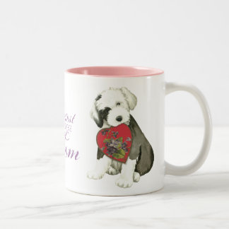 Old English Sheepdog Heart Mom Two-Tone Coffee Mug