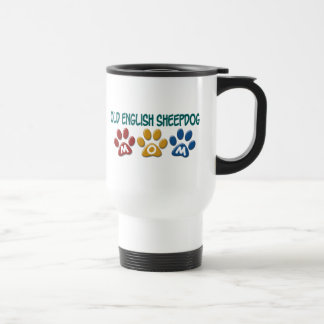 OLD ENGLISH SHEEPDOG Mom Paw Print 1 Travel Mug