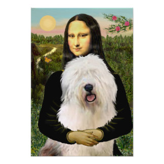 Old English Sheepdog - Mona Lisa Poster