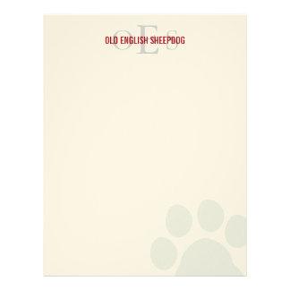 Old English Sheepdog Monogram Customized Letterhead