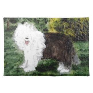 Old English Sheepdog Painting Place Mats