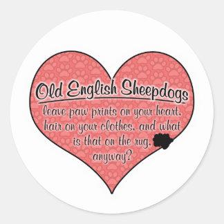 Old English Sheepdog Paw Prints Dog Humor Round Sticker