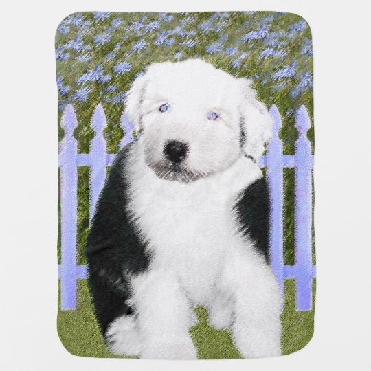 Old English Sheepdog Puppy Painting - Dog Art Baby Blanket