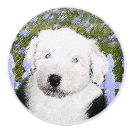 Old English Sheepdog Puppy Painting - Dog Art Ceramic Knob