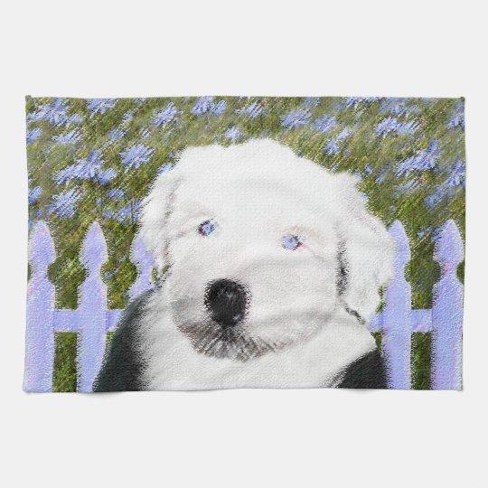 Old English Sheepdog Puppy Painting - Dog Art Kitchen Towel