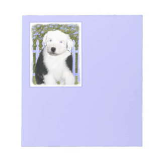 Old English Sheepdog Puppy Painting - Dog Art Notepad
