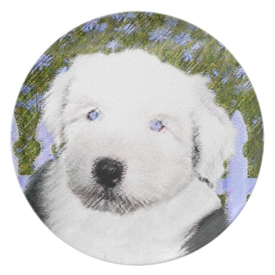Old English Sheepdog Puppy Painting - Dog Art Plate