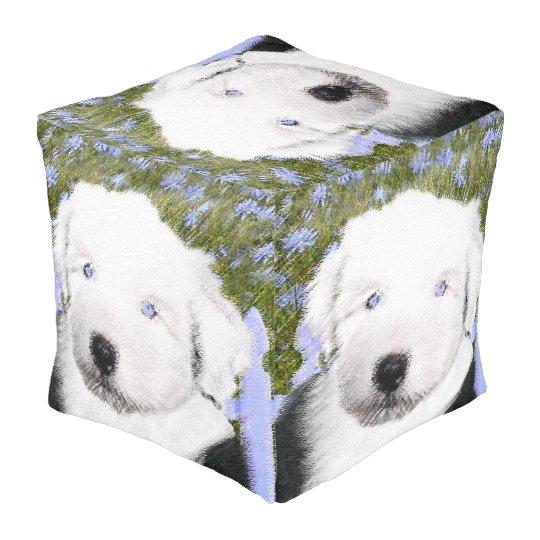 Old English Sheepdog Puppy Painting - Dog Art Pouf