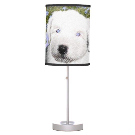 Old English Sheepdog Puppy Painting - Dog Art Table Lamp