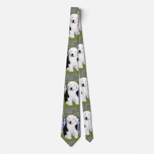 Old English Sheepdog Puppy Painting - Dog Art Tie