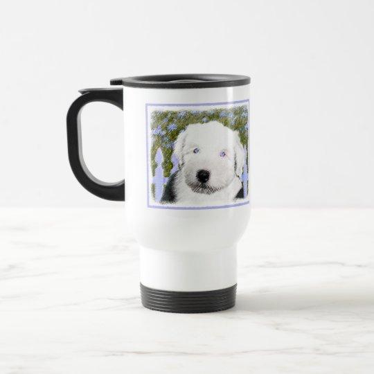 Old English Sheepdog Puppy Painting - Dog Art Travel Mug