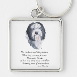 Old English Sheepdog Rainbow Bridge Keychain