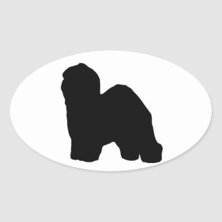 old english sheepdog silhouette oval sticker