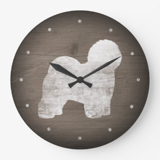 Old English Sheepdog Silhouette Rustic Style Large Clock