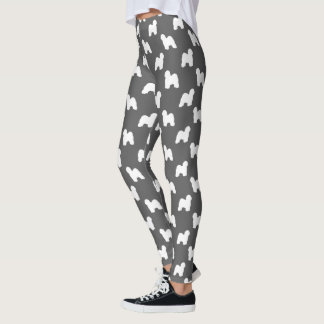 Old English Sheepdog Silhouettes Pattern Leggings