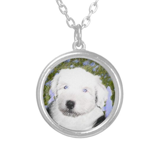 Old English Sheepdog Silver Plated Necklace
