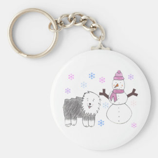 Old English Sheepdog & Snowman Keychain