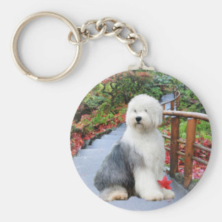 Old English Sheepdog Spring Day Keychain