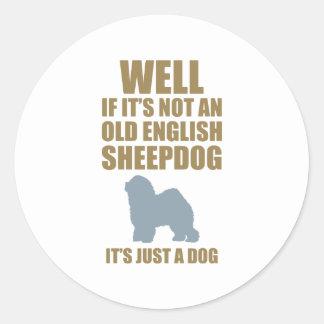 Old English Sheepdog Round Stickers