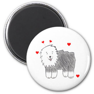 Old English Sheepdog Valentine Ears 2 Inch Round Magnet