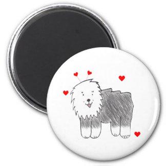 Old English Sheepdog Valentine Ears Magnet
