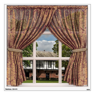 Old English View of Cottages: Fake Window Wall Sticker
