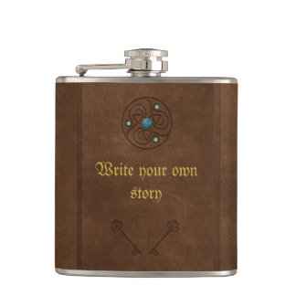 Old fairytale book, write your own message hip flask