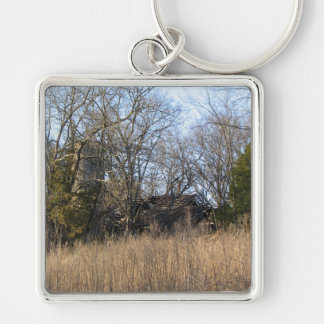 Old Farm Silver-Colored Square Keychain