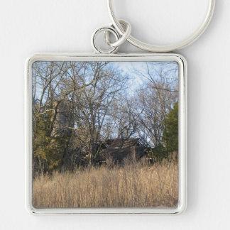 Old Farm Silver-Colored Square Keychain