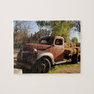 Old farm truck with hay bales puzzle