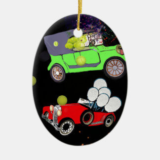Old fashion car plenty of tennis balls and rakets. ceramic ornament