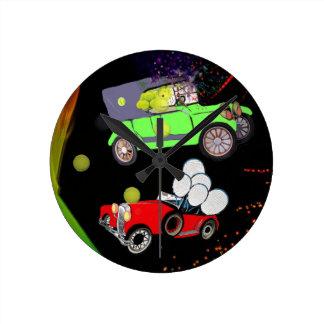 Old fashion car plenty of tennis balls and rakets. round clock